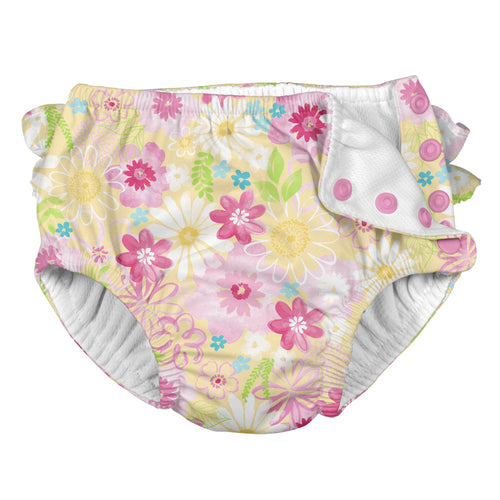Ruffle Snap Reusable Absorbent Swimsuit Diaper-Yellow Watercolor Floral