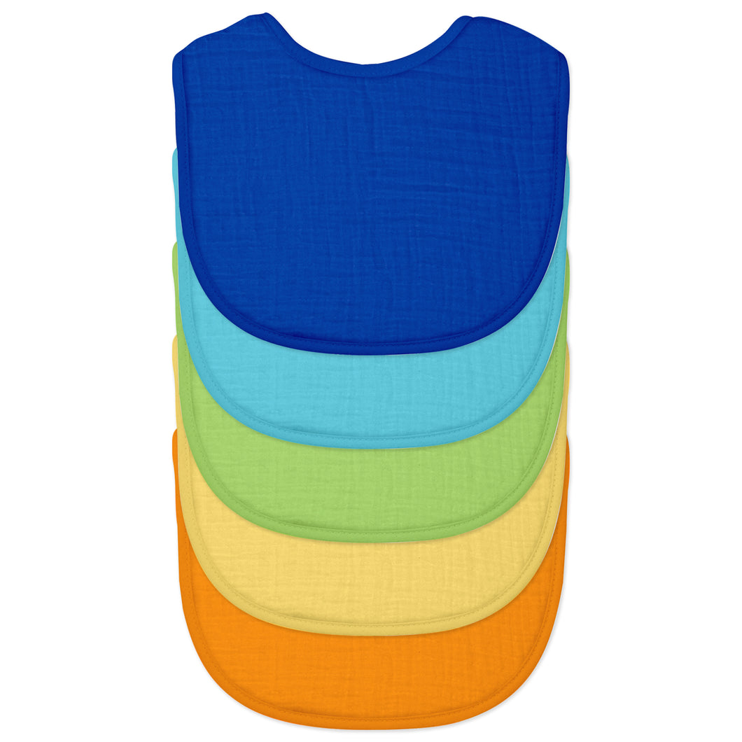 Muslin Bibs made from Organic Cotton (5pk)-Blue Set-0/12mo