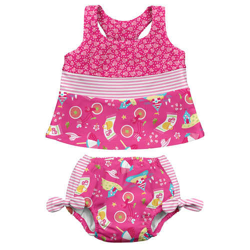 Mix & Match 2pc Bow Tankini Set w/Built-in Reusable Absorbent Swim Diaper-Hot Pink Cabana