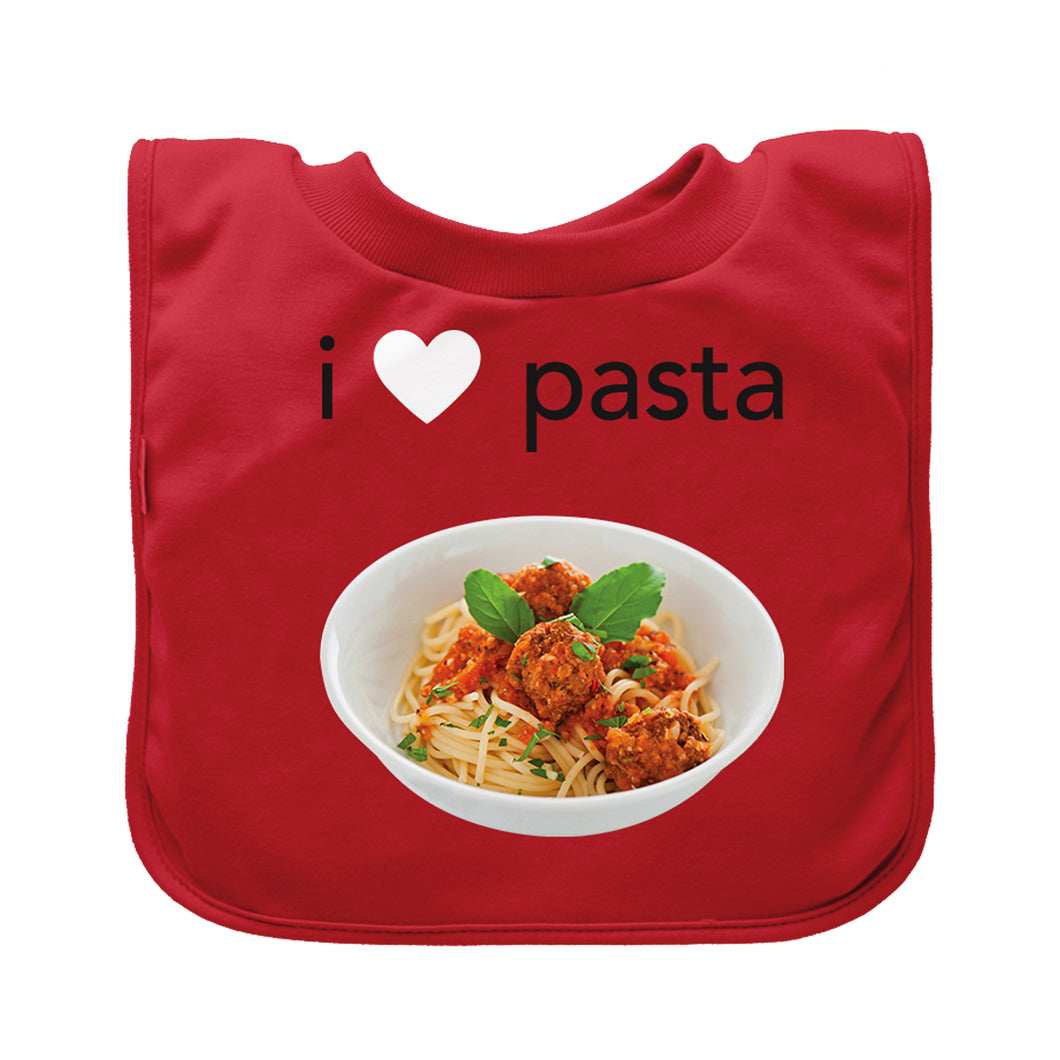 Pull-over Food bib (single)-Red Pasta-9/18mo