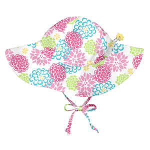Brim Sun Protection Hat-White Zinnia