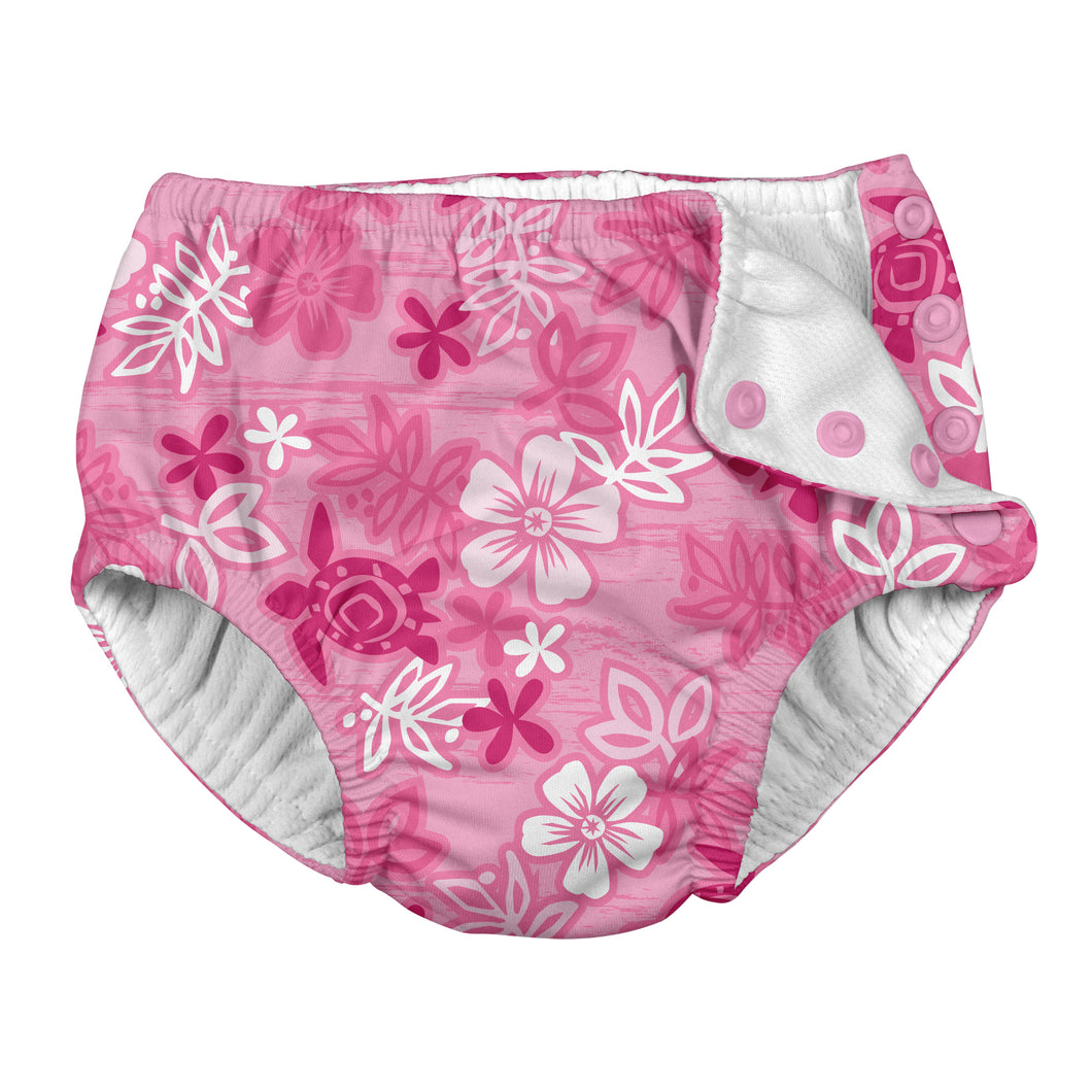 Snap Reusable Absorbent Swimsuit Diaper-Pink Hawaiian Turtle