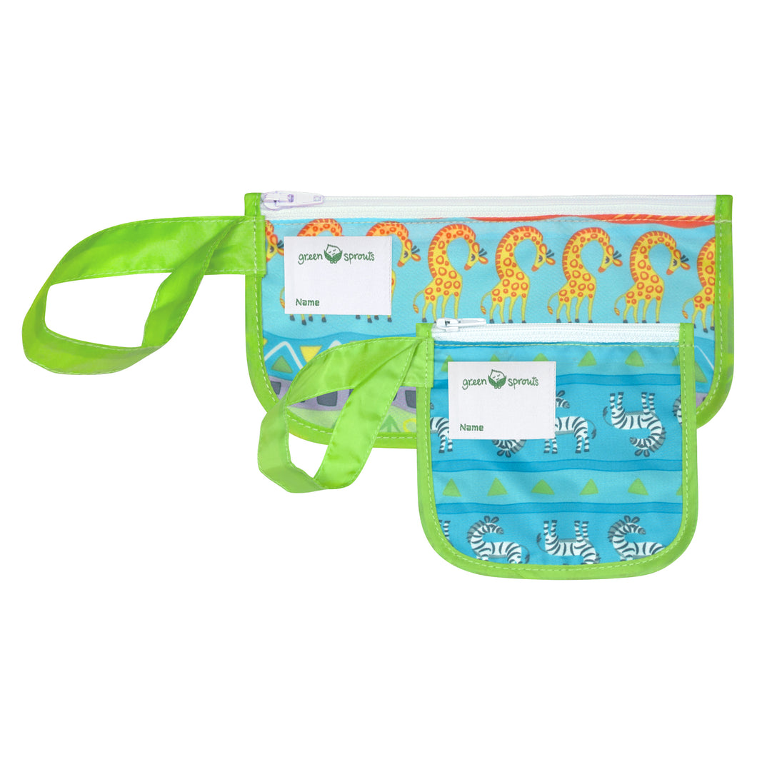 Reusable Snack Bags (2 pack)-Green Safari