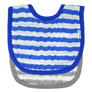 Muslin Bibs made from Organic Cotton (2pk)-Royal Blue Set-0/12mo