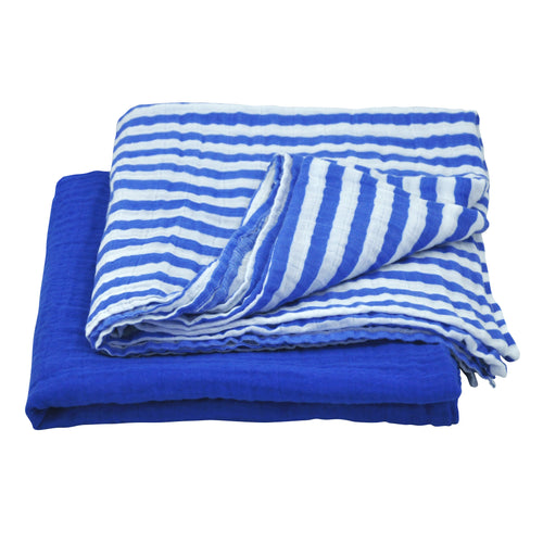 Muslin Swaddle Blanket made from Organic Cotton - Blue