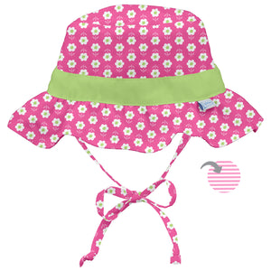 Classic Reversible Ruffle Bucket Sun Protection Hat-Hot Pink Daisy