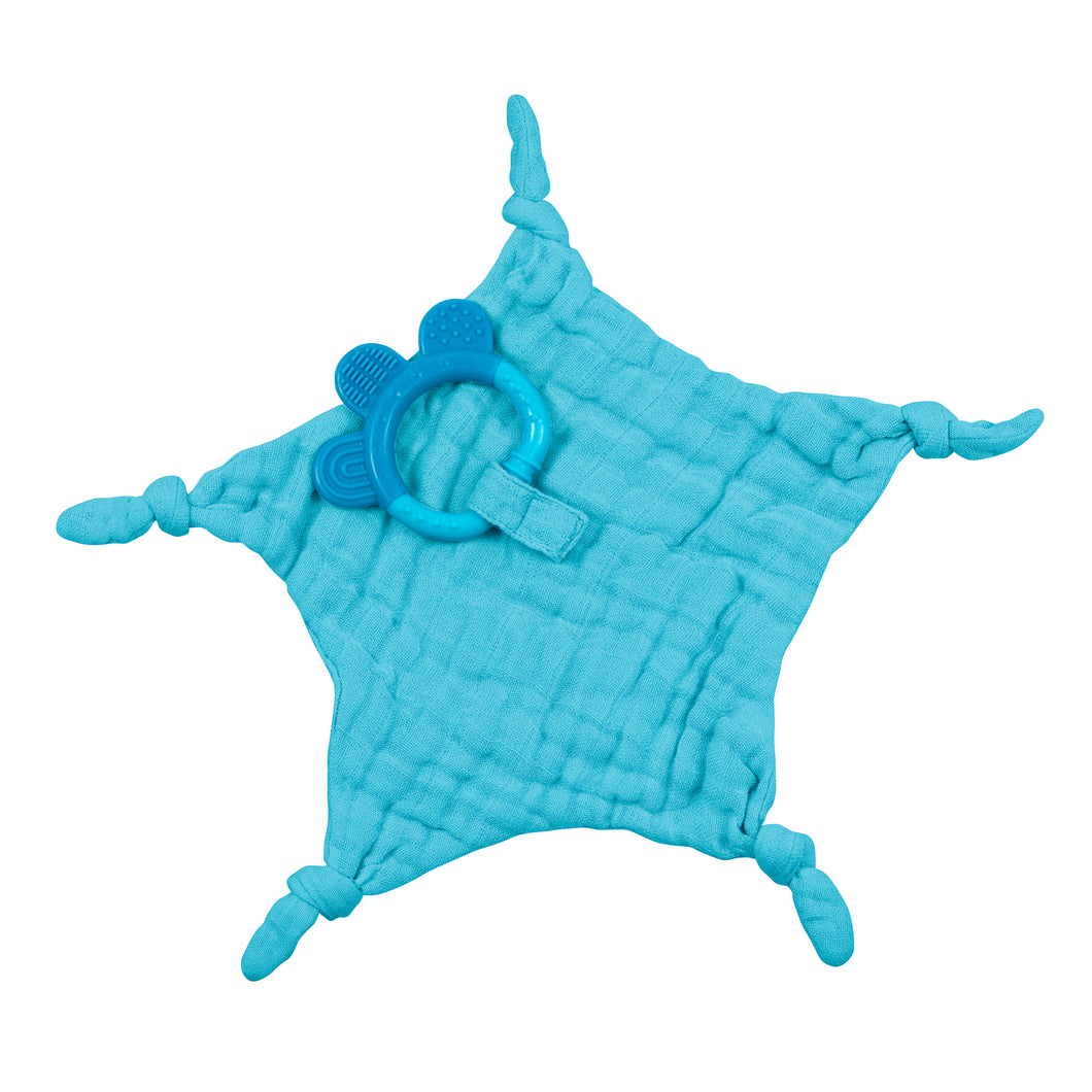Muslin Blankie Teether made from Organic Cotton-Aqua-3mo+