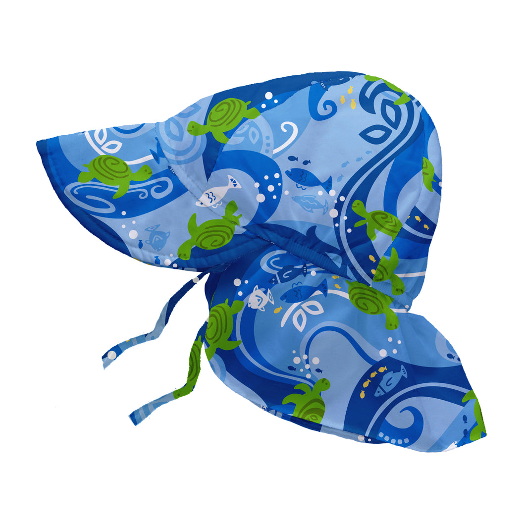 Tropical Flap Sun Protection Hat-Blue Turtle Batik