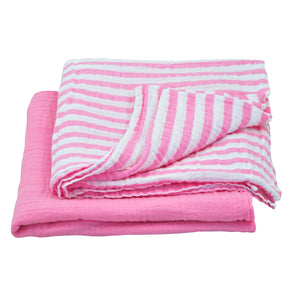"Muslin Swaddle Blanket made from Organic Cotton-Lt Pink Set-44"" x 44"""