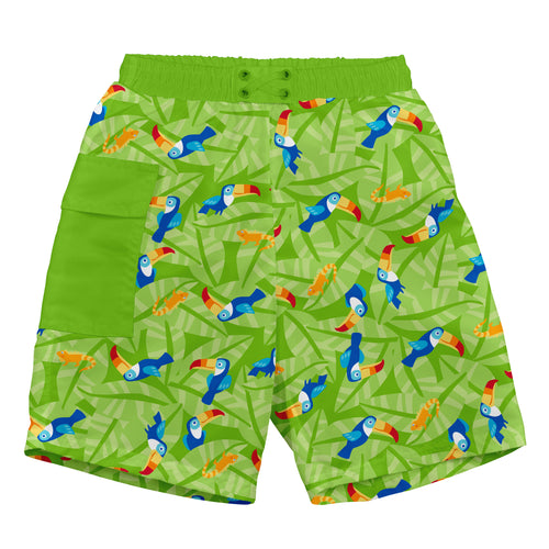 Tropical Pocket Trunks w/Built-in Reusable Absorbent Swim Diaper-Lime Toucan