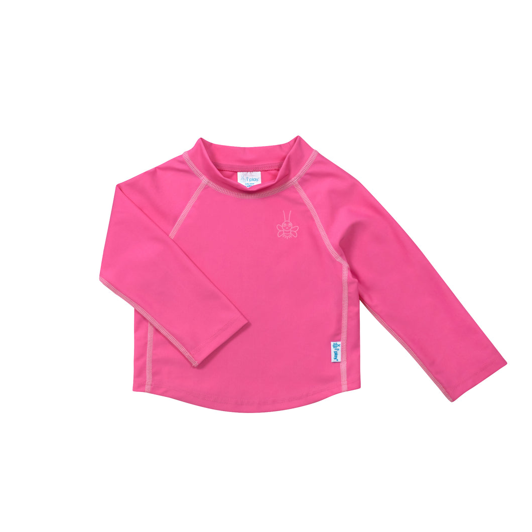 Long Sleeve Rashguard Shirt-Hot Pink