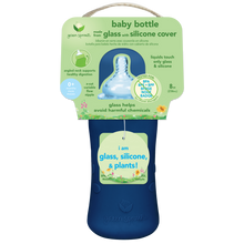 Load image into Gallery viewer, Baby Bottle made from Glass w Silicone Cover-8oz-Navy-0mo+