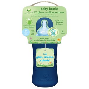 Baby Bottle made from Glass w Silicone Cover-8oz-Navy-0mo+