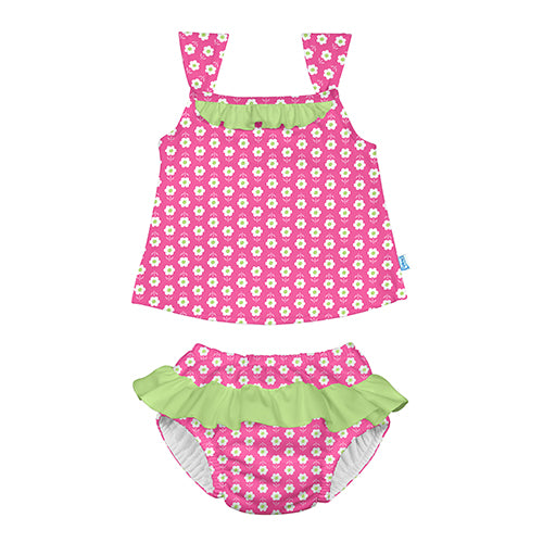 Classic 2pc Ruffle Tankini Set w/Built-in Reusable Absorbent Swim Diaper-Hot Pink Daisy