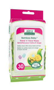 Aleva Natural Bamboo Baby Hand 'n' Face Wipes- 30ct