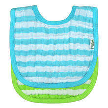 Load image into Gallery viewer, Muslin Bibs made from Organic Cotton (2pk)-Aqua Set-0/12mo