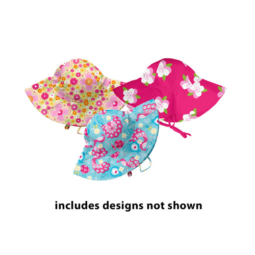 Assorted Girl Print Brim Sun Protection Hat 3pk