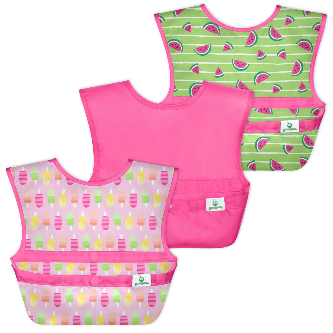Snap & Go Easy-wear Bibs (3pk)-Pink Popsicles-9/18mo