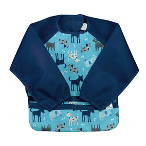 Snap & Go Easy-wear Long Sleeve Bib-Aqua Dogs-12/24mo
