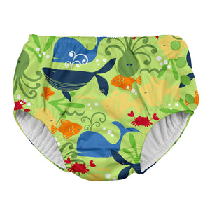 Snap Reusable Absorbent Swimsuit Diaper-Lime Sealife