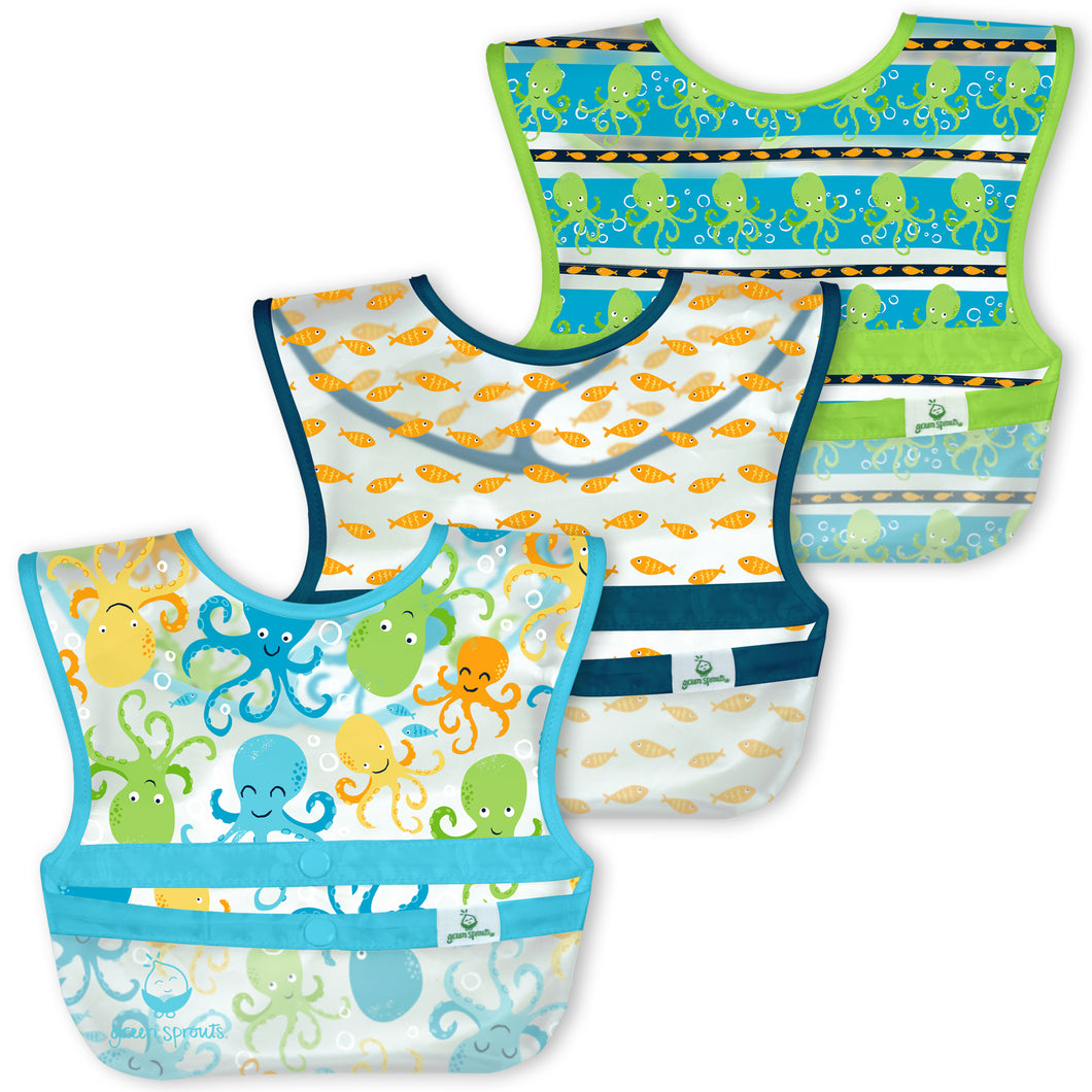 Snap & Go Wipe-off Bibs (3pk)-Aqua Octopus-9/18mo