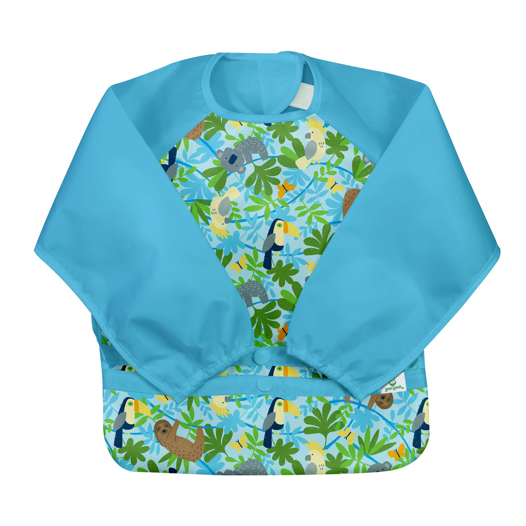 Snap & Go Easy-wear Long Sleeve Bib-Aqua Sloth Jungle-12/24mo