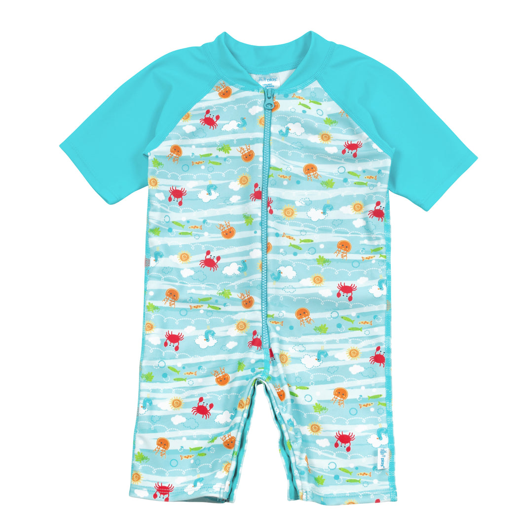 One-piece Swim Sunsuit-Light Aqua Sea Friends