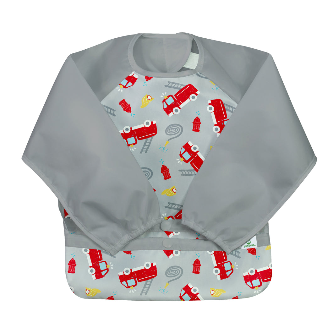 Snap & Go Easy-wear Long Sleeve Bib-Gray Firetruck-12/24mo