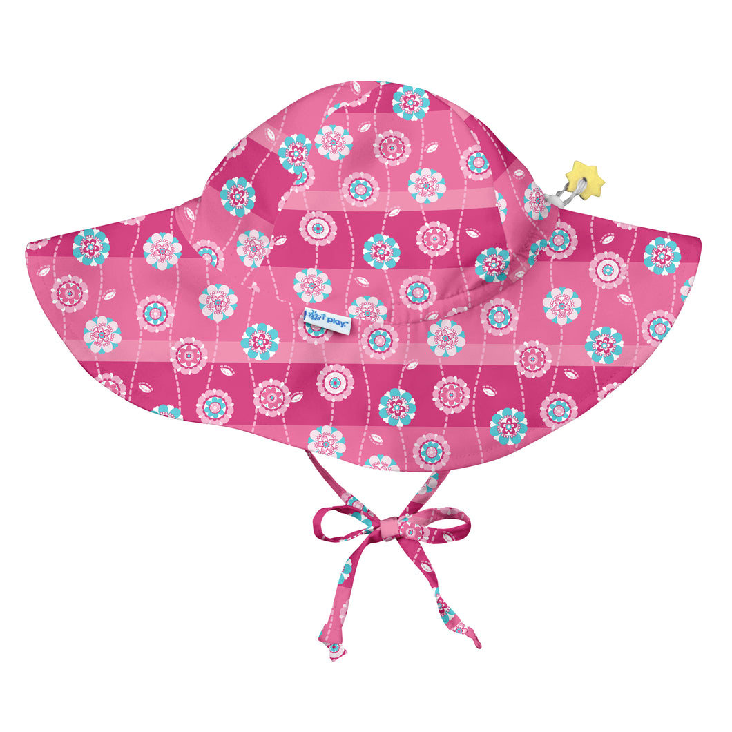 Brim Sun Protection Hat-Hot Pink Stripe Flower