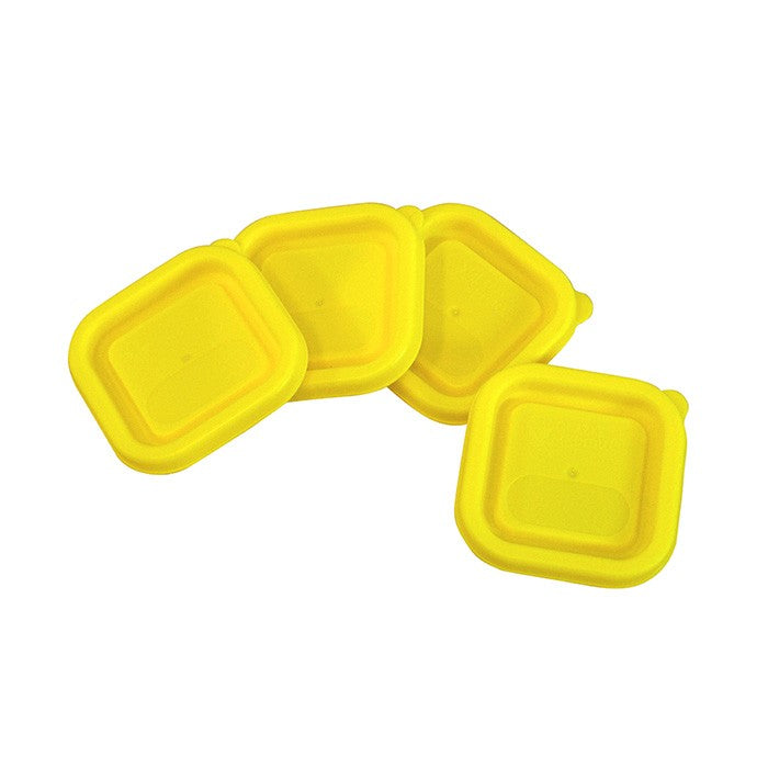 Replacement Lids for Fresh Baby Food Cubes (4pk)-Yellow