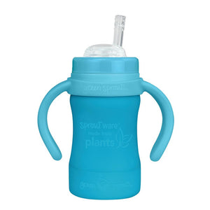 Sprout Ware Straw Cup made from Plants-6oz-Aqua-9mo+