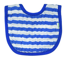 Load image into Gallery viewer, Muslin Bibs made from Organic Cotton (2pk)-Royal Blue Set-0/12mo