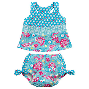 Mix N Match Tankini 2-piece - Aqua Peacock Party