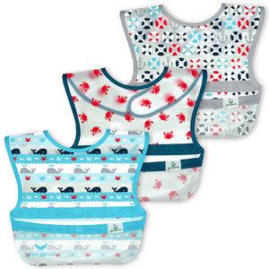 Snap & Go Wipe-off Bibs (3pk)-Aqua Whale Stripes-9/18mo