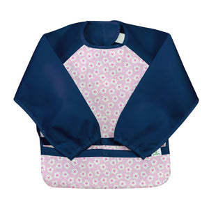 Snap & Go Easy-wear Long Sleeve Bib-Pink Blossom-12/24mo
