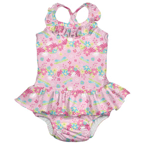 Ruffle Swimsuit w/Built-in Reusable Absorbent Swim Diaper-Light Pink Dragonfly Floral