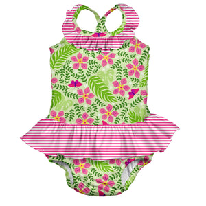 Tropical 1pc Ruffle Swimsuit w/Built-in Reusable Absorbent Swim Diaper-Lime Palm Garden