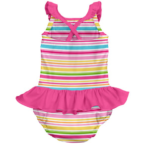 Mix & Match 1pc Ruffle Swimsuit w/Built-in Reusable Absorbent Swim Diaper-Pink Multistripe