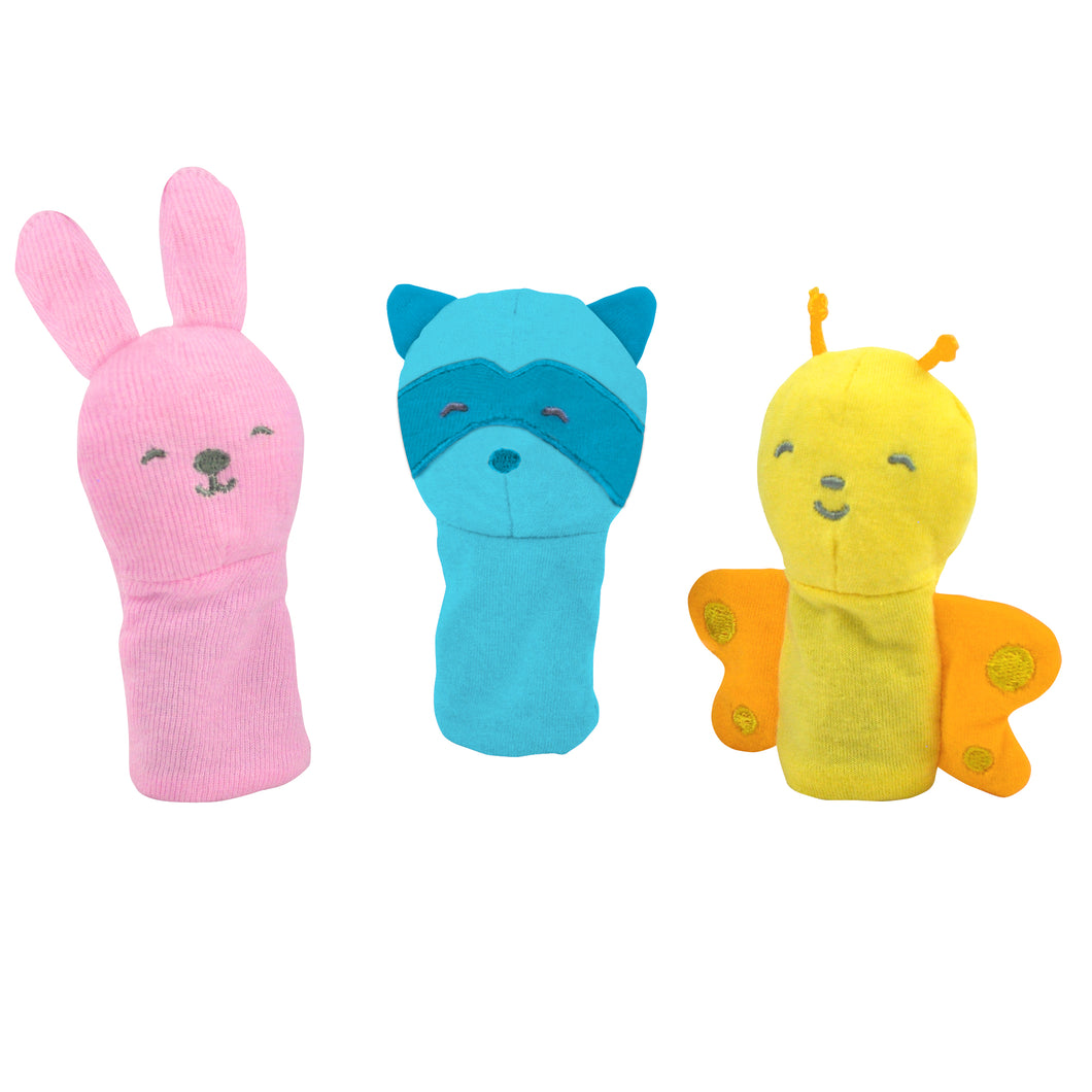 Organic Finger Puppets 3pk with Pink, Aqua, Yellow Set