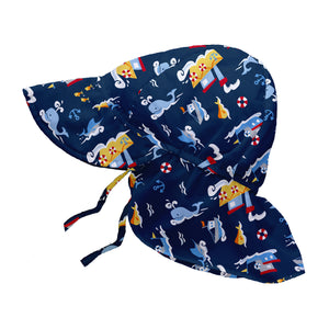 Fun Flap Sun Protection Hat-Navy Tugboat