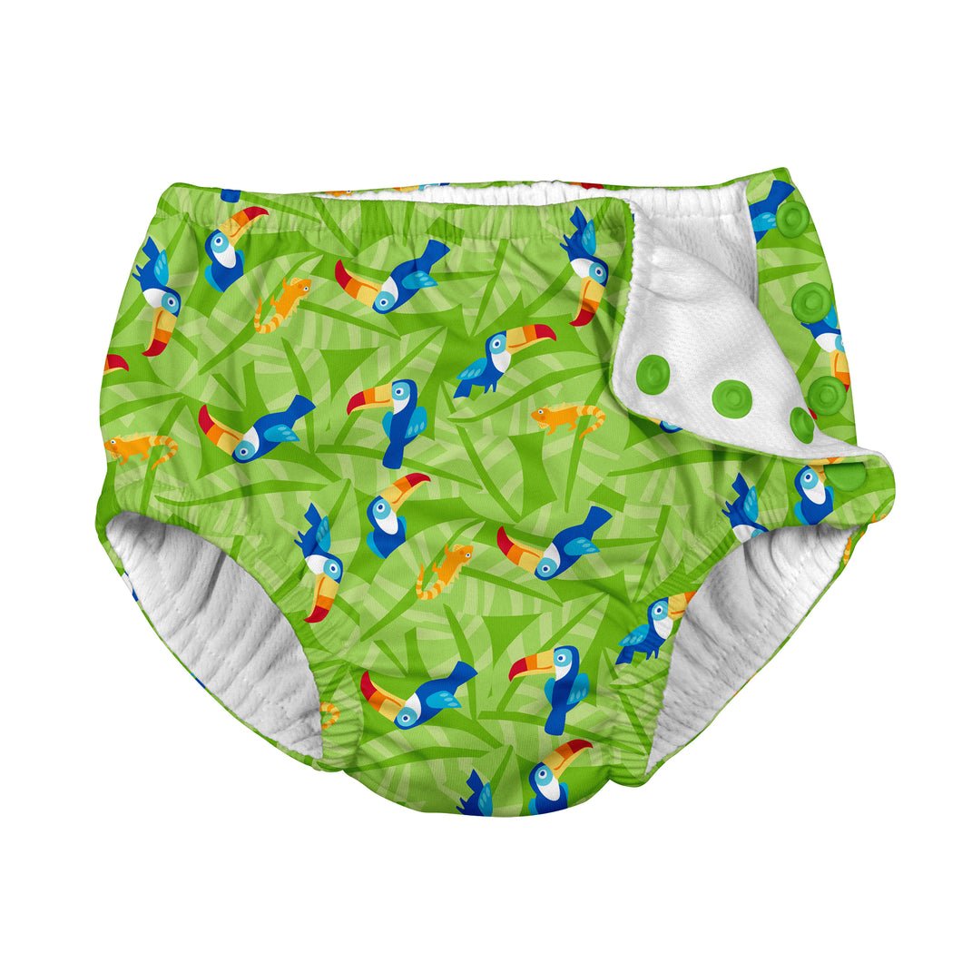 Tropical Snap Reusable Absorbent Swimsuit Diaper-Lime Toucan