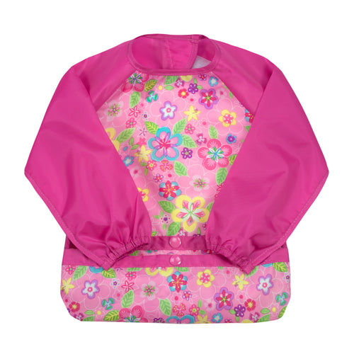 Snap & Go™ Easy-wear Long Sleeve Bib (single) 12/24 mo  -  Pink Flower Field