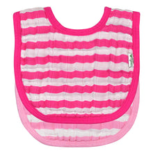 Load image into Gallery viewer, Muslin Bibs made from Organic Cotton (2pk)-Pink Set-0/12mo