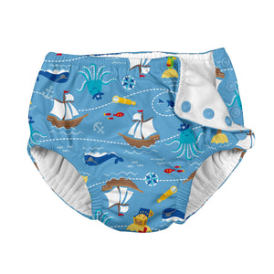 Mix & Match Snap Reusable Absorbent Swimsuit Diaper-Light Blue Pirate Ship