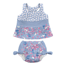 Load image into Gallery viewer, Mix & Match 2pc Bow Tankini Set w/Built-in Reusable Absorbent Swim Diaper-Light Blue Songbird
