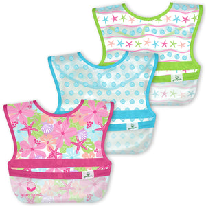 Snap & Go Wipe-off Bibs (3pk)-Pink Shell Floral-9/18mo