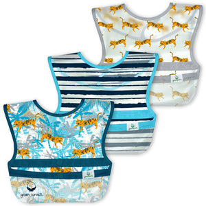 Snap & Go Wipe-off Bibs (3pk)-Blue Tiger-9/18mo