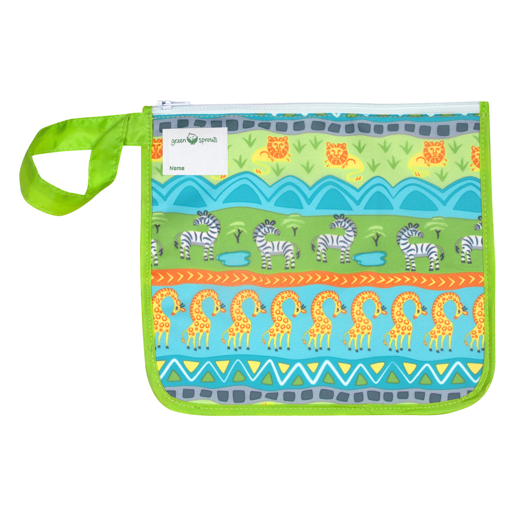 Reusable Insulated Snack Bag-Green Safari