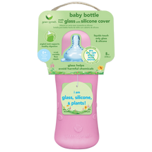 Load image into Gallery viewer, Baby Bottle made from Glass w Silicone Cover-8oz-Pink-0mo+