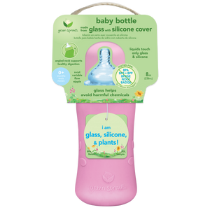 Baby Bottle made from Glass w Silicone Cover-8oz-Pink-0mo+